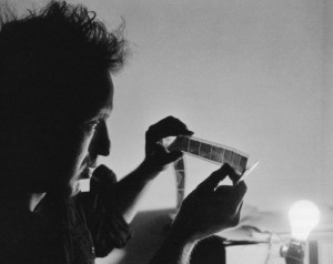 Robert Frank Editing His Negatives
