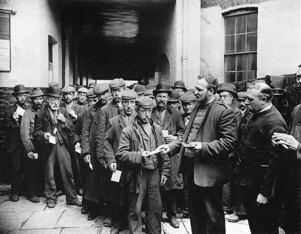 Court Yard Salvation Army Barracks Morning Rush–men who had dad tickets given them during the night for free Breakfast, London, 1902